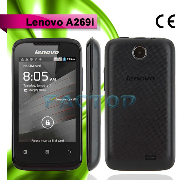 3.5inch Screen Dual Core CPU MTK7572M Android 2.3 Dual SIM Cheap Price Lenovo A269i Hand Smart Phone