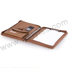 Factory OEM Supply Zipped Luxury Leather Portfolio / Organizer Folio with 3-Ring Binder