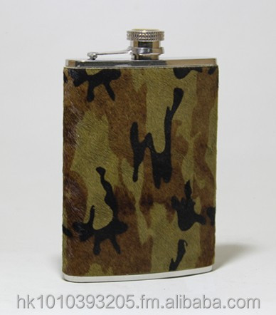 STAINLESS STEEL POCKET / HIP FLASK WITH LEATHER COVERING