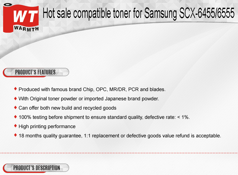 Hot sale compatible toner for Samsung S6455 / S6555