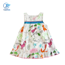 Latest Designs Summer Frock Animals Printed Baby Girls Dress Square Neck Baby Clothes