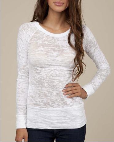 Custom New Style Ladies Long Sleeve Blank Top Tee Burnout T shirts Wholesale