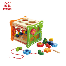 Multifunction Activity cube Wooden shape sorting cube Educational Wooden abacus Early learning toys for kids