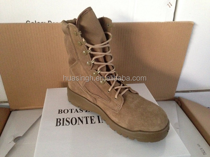 military equipment PU+rubber flat sole desert suede leather US army boots belleville
