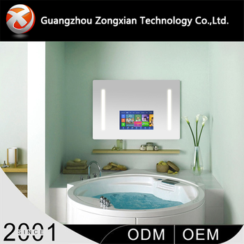 High quality bathroom low price 22 inches wall mount smart mirror tv with important informatioon notice function