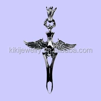fashion alloy winged skull dagger pendant jewelry