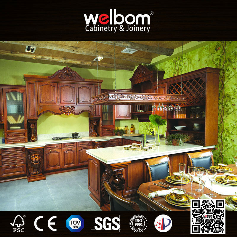 China Export to Canada Oak Kitchen Cabinet Solid Wood