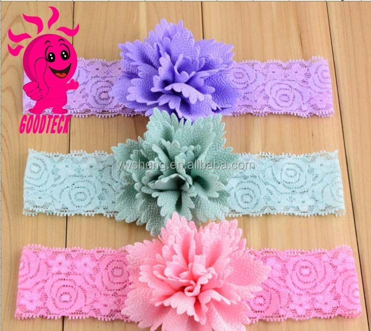 Latest Nice Baby Girl Chiffon Flower plastic Headband /Kids Hair Accessories