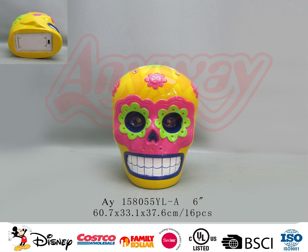 Yellow Yellow skull heads piggy bank coin bank