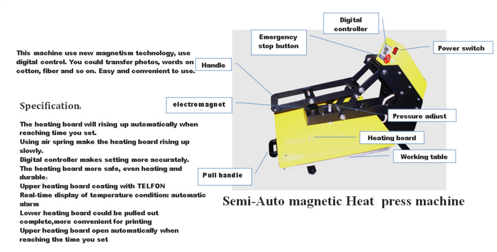 Hot 40 * 60 pull- magnetic semi-automatic heat press machine