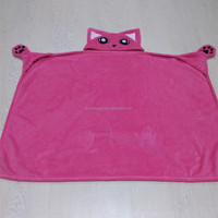 Patched Ears and eyes Animal head coral fleece hooded blanket for baby