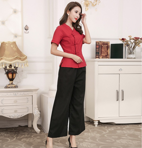 Wholesale short sleeved trousers set hairdressing beautician manufacturer spa uniform