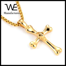 High Quality Twist Chain Chunky Casting Men's Gold Cross Necklace