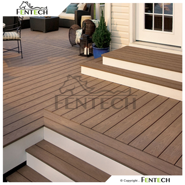 100 pvc material wood texture surface pvc outdoor decking for Garden decking materials