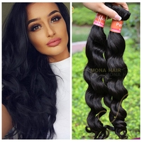 Peruvian loose wave full ends virgin hair extensions free sample