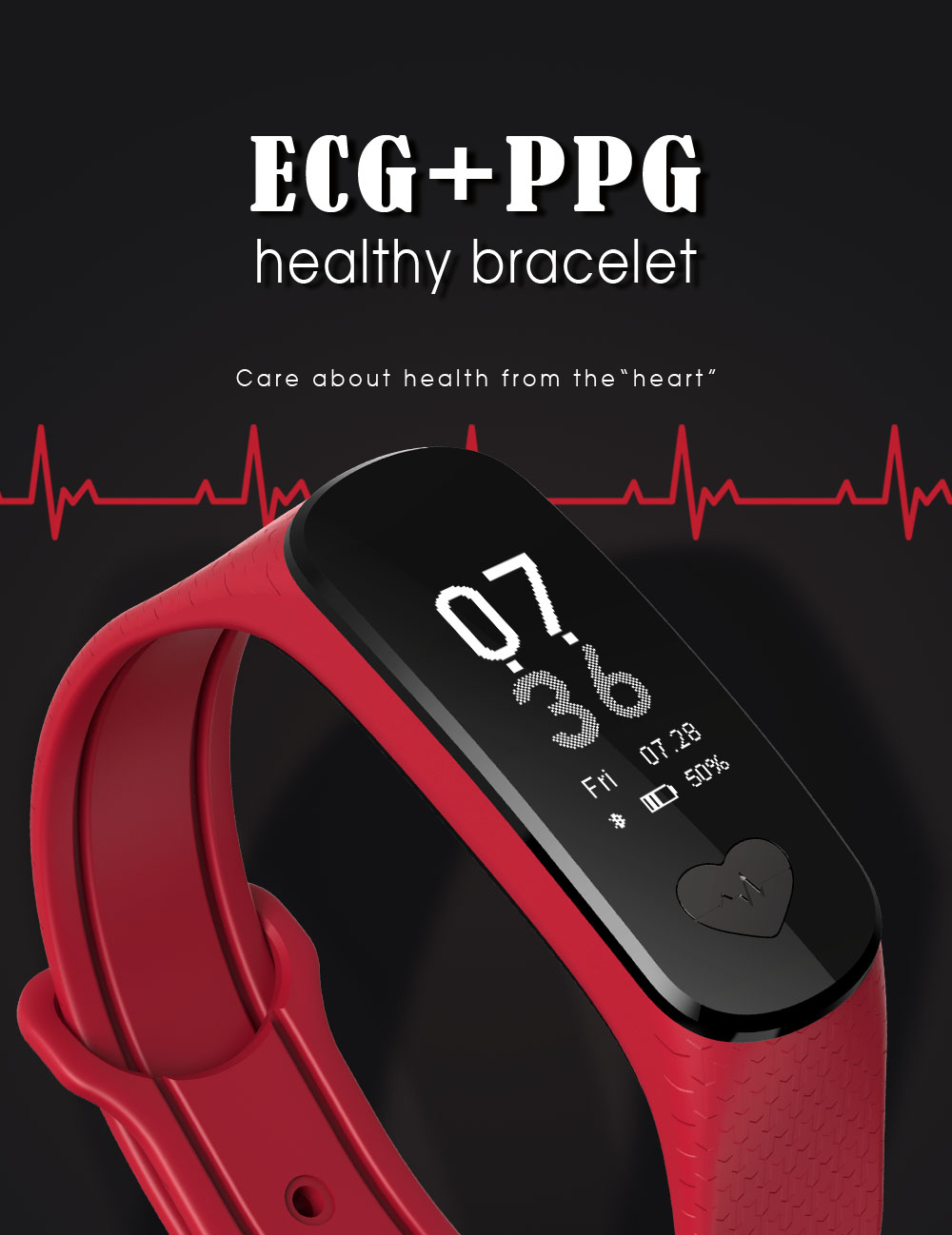 B9 ECG + PPG Health Smartband Heart Rate Blood Pressure Monitor Smart Band Fitness Activity Tracker Wristband Bracelet