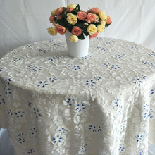 White Hand Embroidery Lace Design Wedding Oval Tablecloth