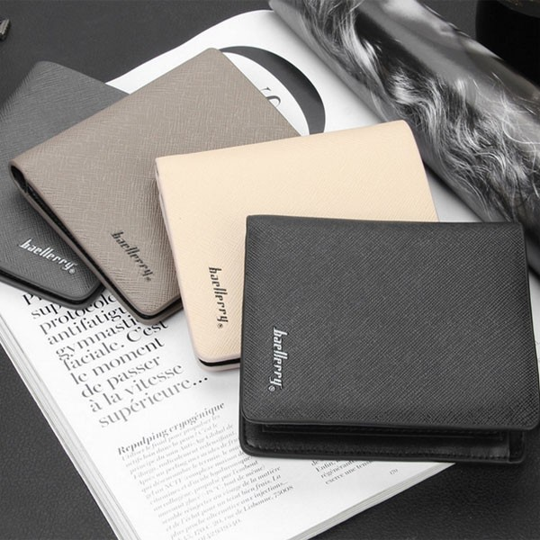 baellerry Famous Brand Vintage Simple Men PU Leather Wallet Card Holder Multi Pockets Credit Card Photo Purse