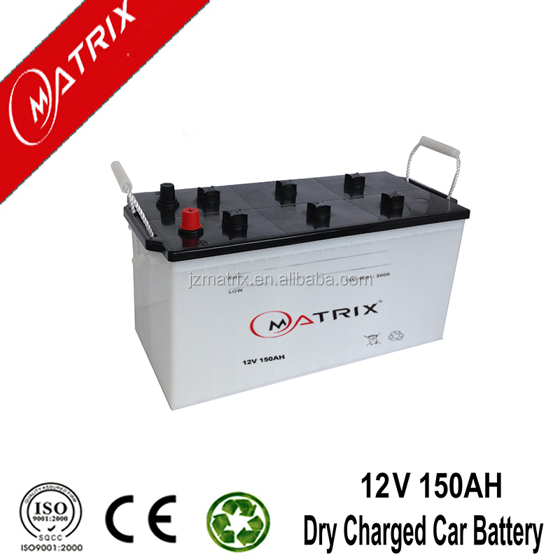 cheapest high quality 12v 150ah dry charged car battery N150 for Japannese car
