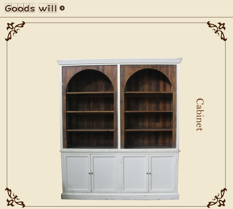 American industrial wind bookcase wooden furniture Solid wood antique do old reveal ark Bookcase bookshelf