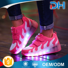 Fashion USB change girl LED light up shoes ladies LED shoes female light up shoes with roller