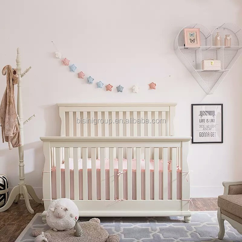 Classical French Style Happy Kids Antique White Solid Wood Carving Baby Crib, Classic European Style Kids Furniture BF11-02274c