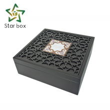 Black color paint wooden gift boxes dubai, engraved flowers logo Ramadan gift box