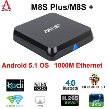Amlogic S812 Quad Core Google Android 5.1 Android Tv Box m8s plus 2GB/8GB Kodi Bluetooth Dual-band Wifi
