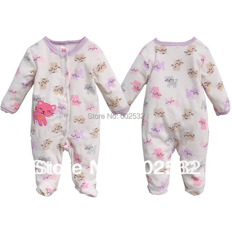Retail Baby clothes  long-sleeved jumpsuit Dinosaur style Romper Fleece Infant sleepwear for 3-12months 2301