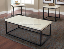 Metal Frame coffee table with MDF stick marble paper painting top