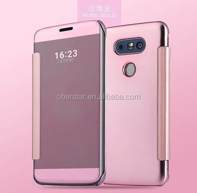 2016 New Arrive Luxury Plating Touch Sensitive Clear View Smart Flip Mirror Case for LG G5