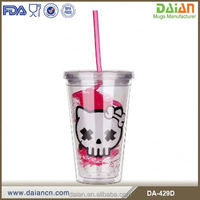 3d Plastic Cups With Lid And Straw For Children