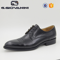 high quality real leather black Men's Leather Formal Shoes factory in China