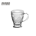 New design engraved 6oz glass tea cup with handle