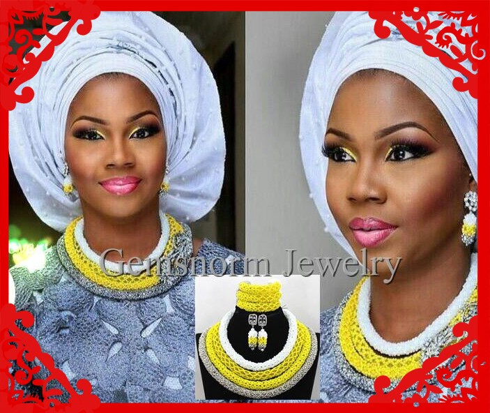 Wonderful African Jewelry Set Necklace Nigerian wedding Beads Jewelry Set CJ088