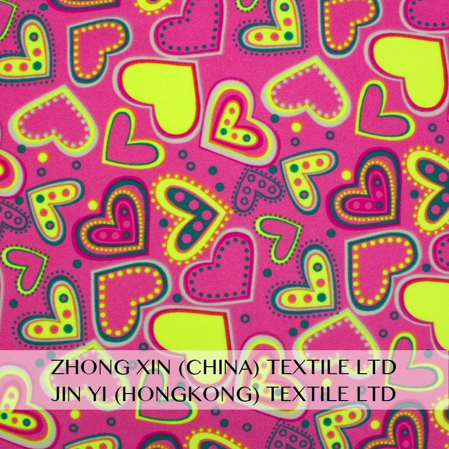 newest pattern customized colorful heart print polyamide spandex fabric