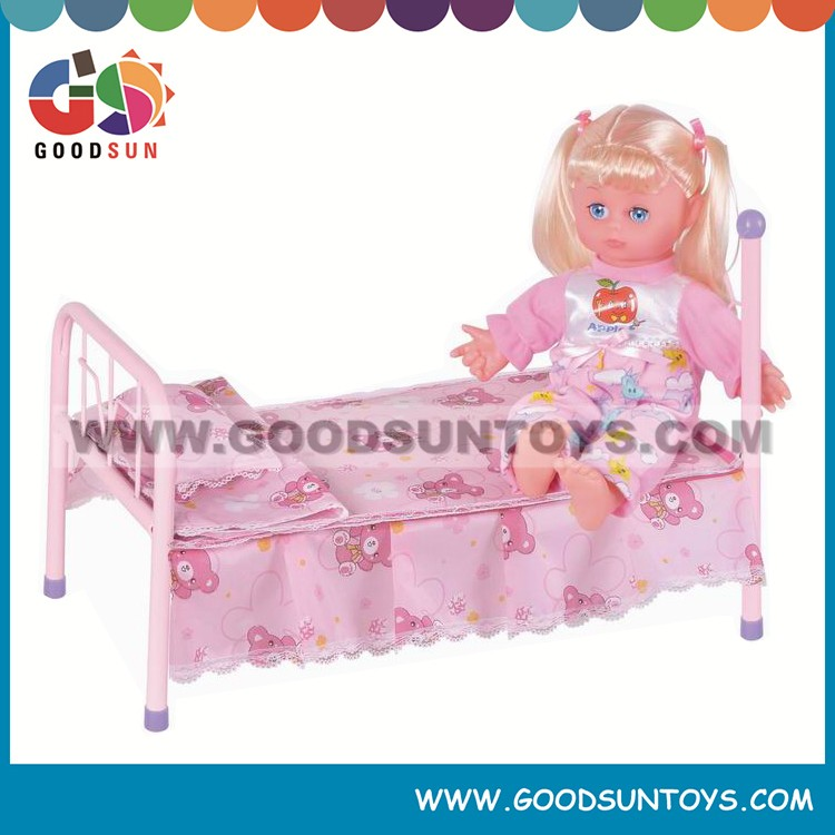 Hot sale Doll furniture doll bunk bed pink doll bed for child
