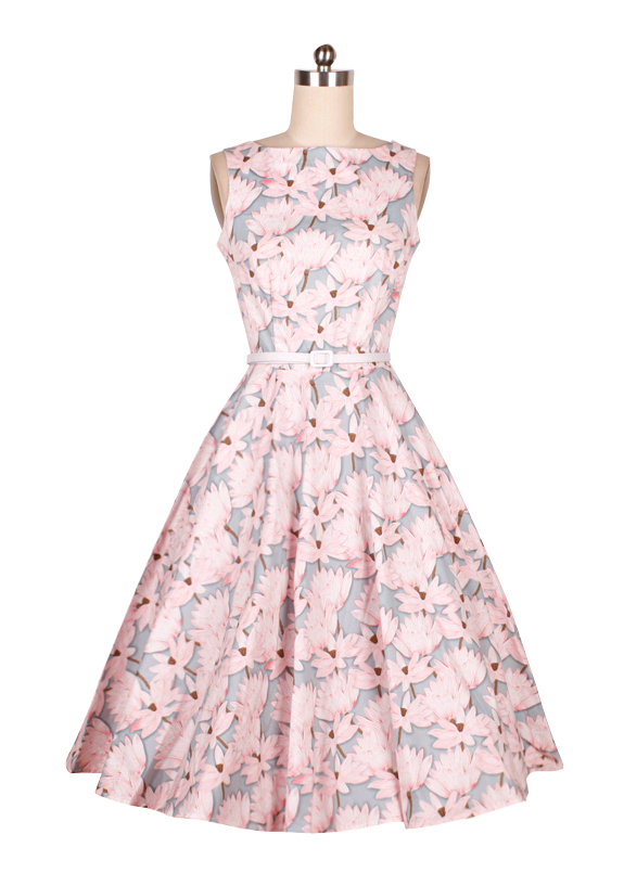 onen clothes Fashionable Retro style Knee Length pink flower print Vintage 50s dress Plus Size
