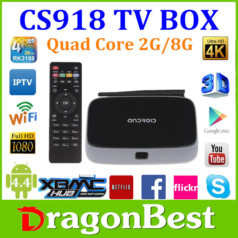 CS918 Quad Core RK3188 Tv Box Android 4.4 Bluetooth 4.0 Android TV Box Android 4.4 Mini Box Bluethooth Wifi 8G ROM