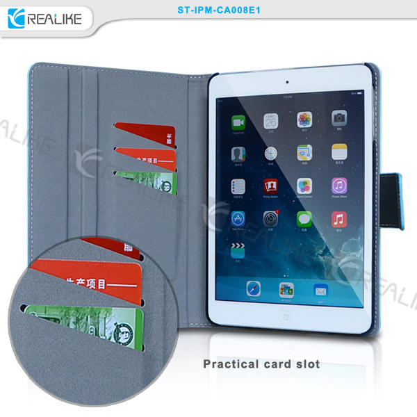 New arrival with card slots stand flip leather tablet protector case for apple ipad mini