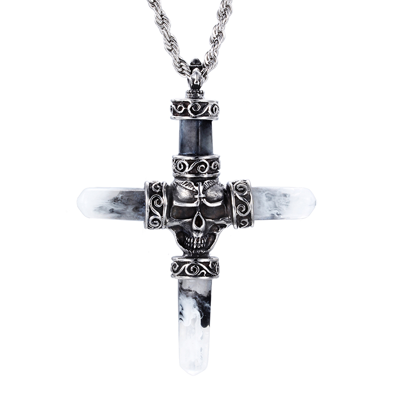 Wholesale Christian Jesus jewelry Gift Unisex's Men Black Silver Stainless Steel Lucky Cross Pendant Necklace