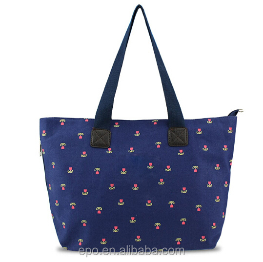 Hot sale floral print canvas beach bag summer 2015