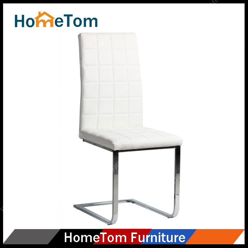 Best Selling White PU Leather Metal Chrome Barcelona Dining Chairs for Dining Room