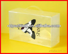 Customized cheap transparent shoe box with handle
