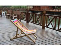 Adjustable customized wooden foldable reclining beach deck chair