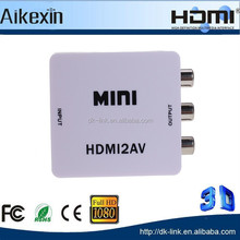 White- Mini HDMI to RCA AV Converrter Adapter plastic box 1080P hdmi 1.3b 3D