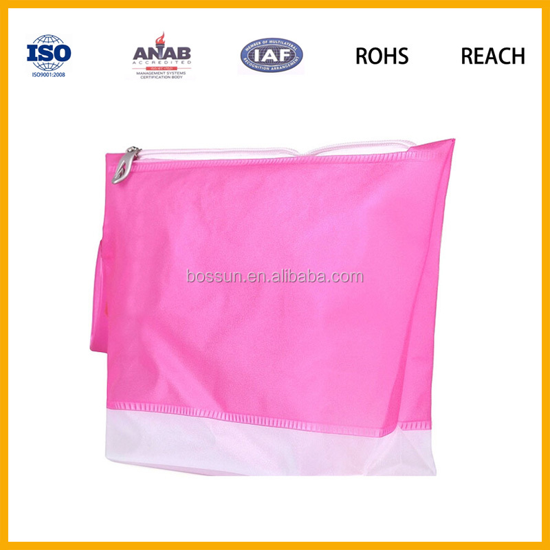 High Quality Candy Color Waterproof Vinyl Beach Bag Plastic Leisure Bag with zipper for Women