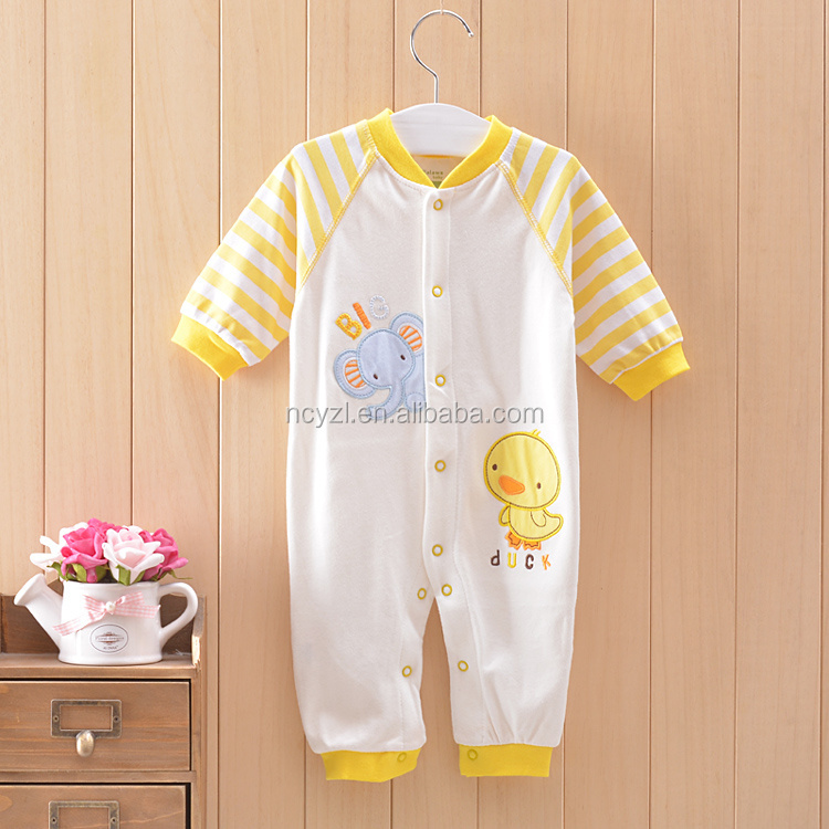 Wholesale organic baby clothes yellow duck baby animal romper