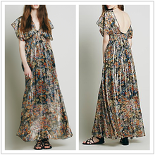 Alibaba Express Clothes Women Floral Printed Chiffon Long Renaissance Puffy Prom Dresses NT6239