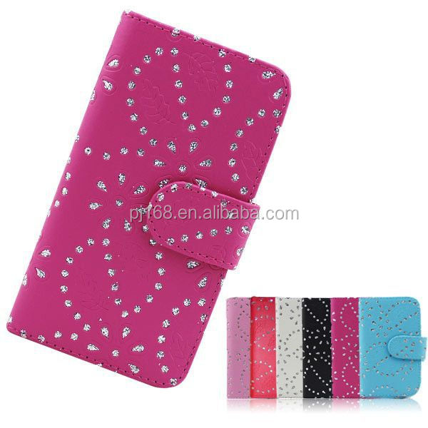 china supplier phone cases snow flower cover leather case for HTC M7 One
